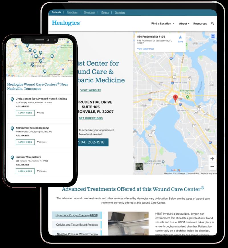 Healogics healthcare website location finder tool