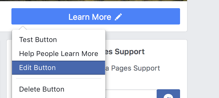 Edit Facebook profile button