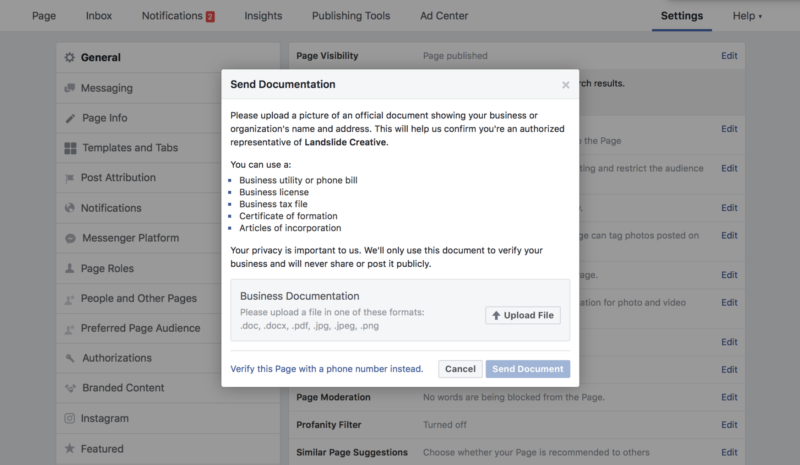 Verify Facebook page with a bill