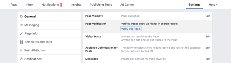 Verify this Facebook page