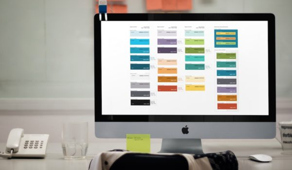 Computer screen with color palette