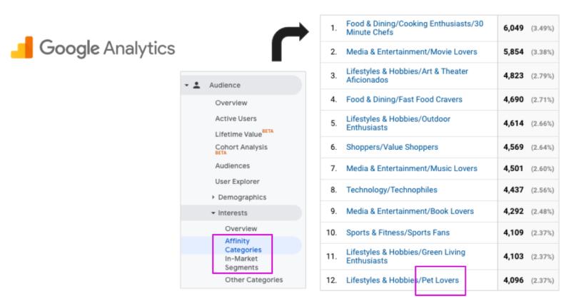 Screenshot of Google Analytics Affinity Data