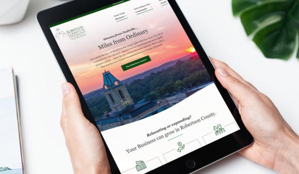 Economic development website on tablet
