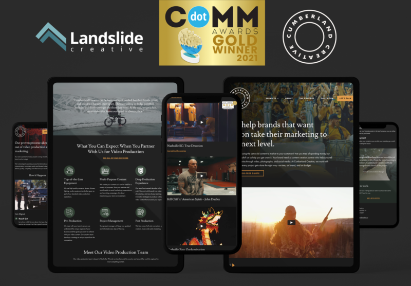 Website design on multiple devices with award logo
